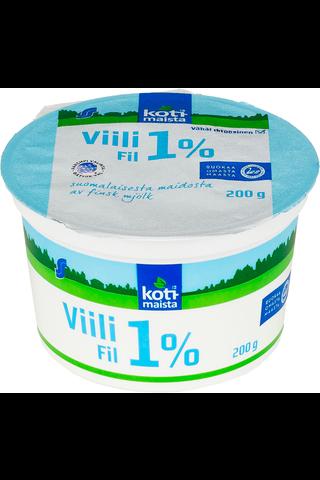 Kotimaista 200 g 1% vähälaktoosinen viili