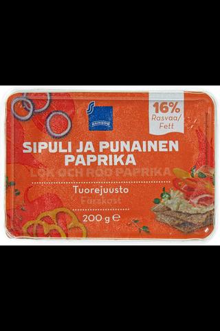 Rainbow Tuorejuusto paprika-sipuli 12 %, 200 g