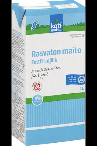 Kotimaista 1l rasvaton maito vähälaktoosinen UHT