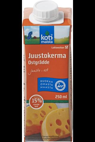 Kotimaista Juustokerma 15% laktoositon 2,5 dl