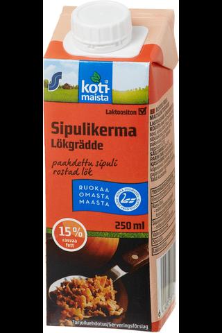 Kotimaista laktoositon paahdetun sipulin makuinen ruokakerma 15% 250ml