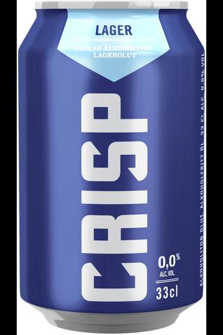 KOFF Crisp Vaalea Lager olut 0 % tölkki 0,33 L
