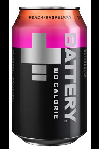 Battery No Calorie Persikka + Vadelma energiajuoma tölkki 0,33 L