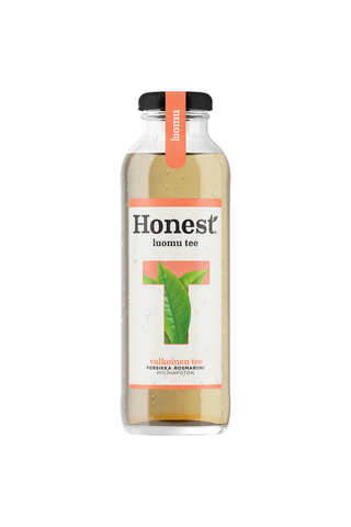 Honest Luomu Valkoinen Tee Persikka Rosmariini teejuoma lasipullo 0,33 L