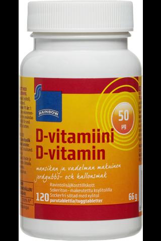 Rainbow 66g D-vitamiini 50μg mansikan- ja vadelmanmakuinen 120 purutablettia