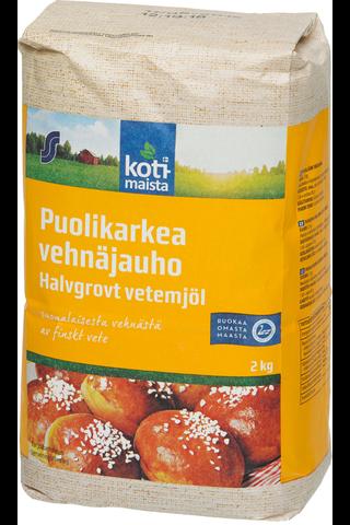 Kotimaista 2kg Puolikarkea vehnäjauho