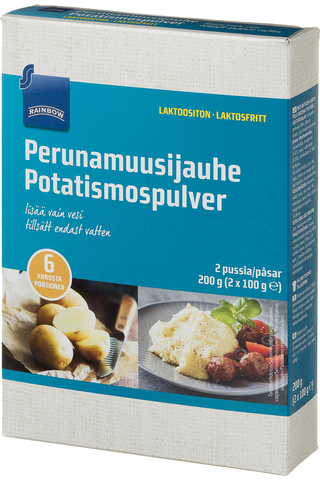 Rainbow Perunamuusijauhe laktoositon 2 x 100 g, 6 annosta