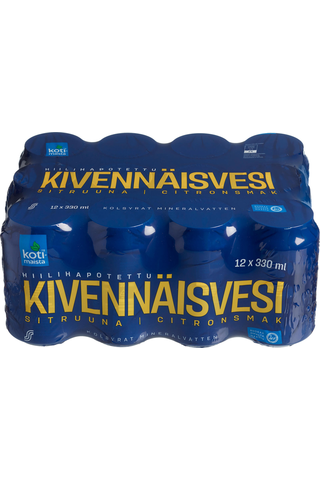 Kotimaista Hiilihapotettu kivennäisvesi sitruuna 33 cl 12 pack 12 x 33 cl