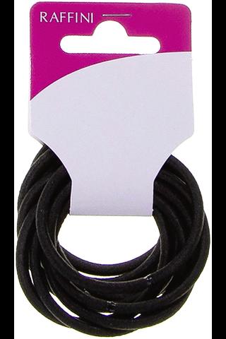 Raffini hiuslenkki musta pyöreä 10kpl