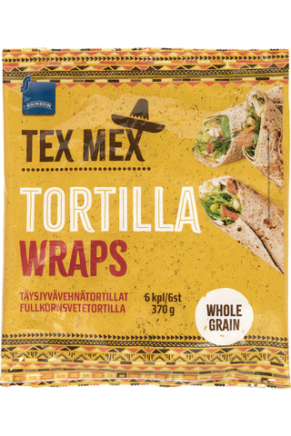 Rainbow Tex Mexican Täysjyvävehnätortilla 370 g, 6 kpl