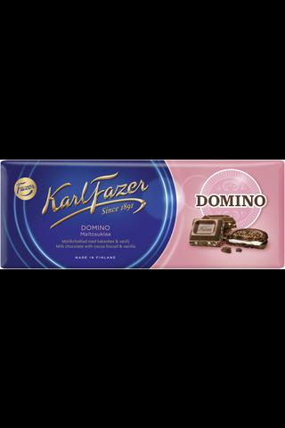 Karl Fazer 195g Domino maitosuklaalevy, jossa kaakaokeksiä (7%) ja vaniljanmakuisia muruja (2%)