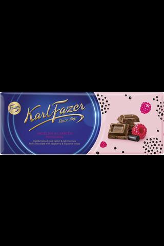 Karl Fazer vadelma & lakritsi maitosuklaalevy 200g