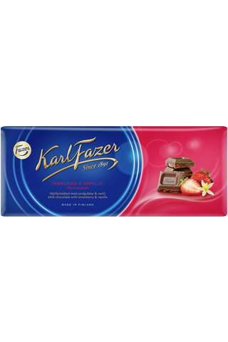 Karl Fazer 190g mansikka (2%) ja vanilja maitosuklaalevy