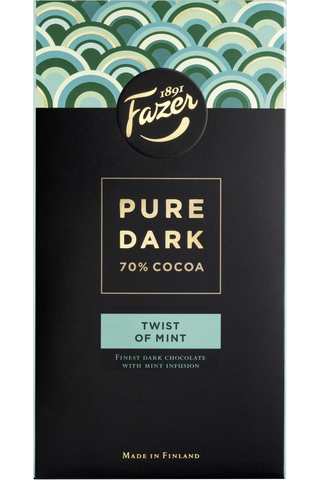 Fazer Pure Dark 95g 70% Cocoa Twist of Mint, mintun makuinen tumma suklaalevy