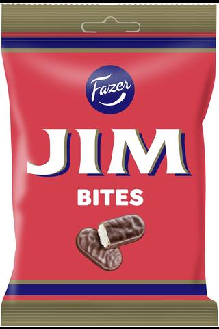 Fazer Jim Bites tummaa suklaata hedelmänmakuisella vaahtotäytteellä 94g