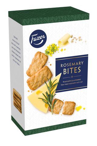 Fazer Rosemary Bites 160g Rosemary rosmariini-juustokeksejä, 160g, n. 34kpl