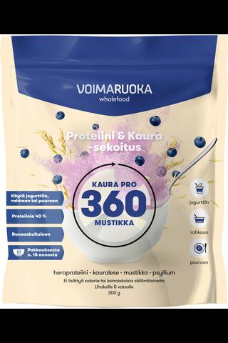 Voimaruoka 360 Wholefood Kaura Pro Mustikka runsaskuituinen proteiinijauhe 300g