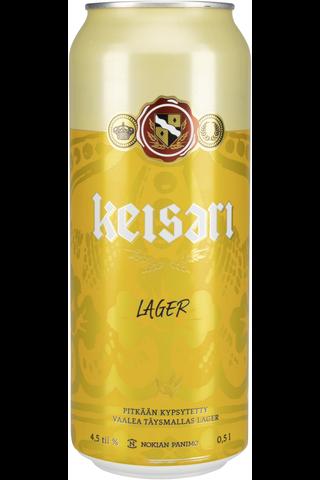 Keisari Lager olut 4,5% 0,5l tölkki