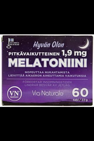 Via Naturale Hyvän Olon Melatoniini 1,9 mg 60 tabl