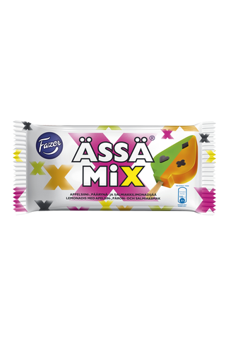 Fazer Ässä Mix 90g/0,87dl Appelsiini-, päärynä- ja salmiakkilimonadijää