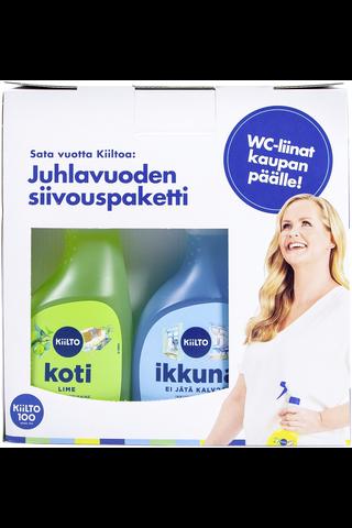 Kiilto 100v 3x500ml kodinpuhdistaja spray + ikkunapuhdistaja spray + keittiö spray + wc-puhdistusliina