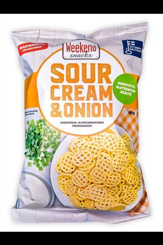 Weekend Snacks Sour Cream & Onion Kermanviilin- ja sipulinmakuinen perunasnacks 180g