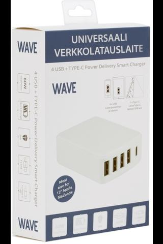 Wave verkkolaturi, 4 x usb + usb type c pd (30 + 30w