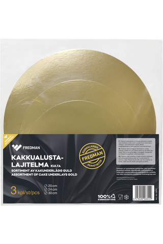 Eskimo kakkualustalajitelma kulta 3kpl Ø20,24,30cm