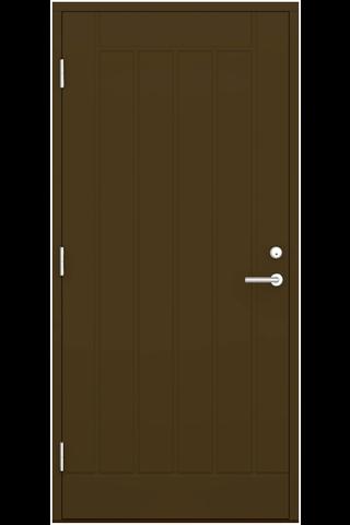 Ulko-ovi umpinainen UOP 9x21 RR32 ruskea, pystyuralla vasen, karmi 115 mm, kynnys koivu öljytty