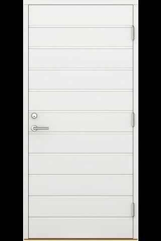 Ulko-ovi umpinainen UOV 10x21 valkoinen, vaakauralla oikea, karmi 115 mm, kynnys koivu öljytty
