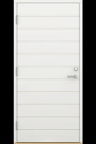 Ulko-ovi umpinainen UOV 10x21 valkoinen, vaakauralla vasen, karmi 115 mm, kynnys koivu öljytty