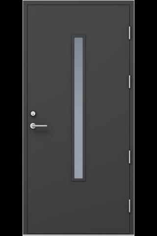 KASKI-ulko-ovi FE-810 pitkällä lasilla, tumman harmaa, 10x21 oikea, kynnys öljytty koivu, karmi 115mm