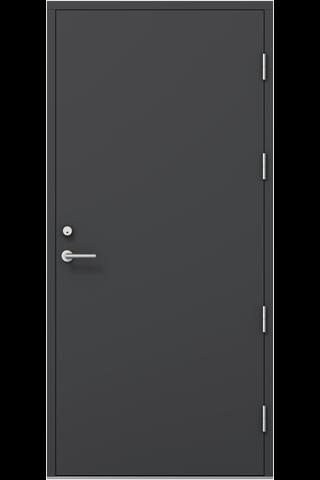KASKI-ulko-ovi OLOS, umpinainen sileä, tumman harmaa 10x21 vasen, kynnys öljytty koivu, karmi 115mm