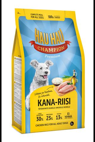 Hau-Hau Champion 2kg Kana-riisi täysravinto kaikille aikuisille koirille