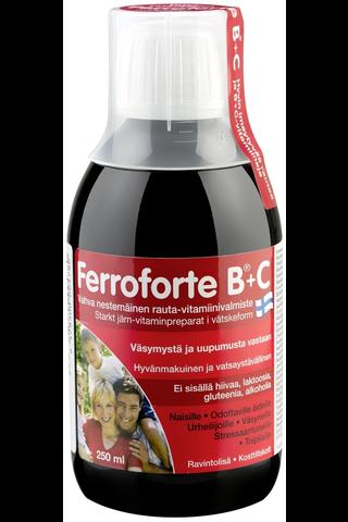 Ferroforte B + C nestemäinen rauta-vitamiinivalmiste 250 ml