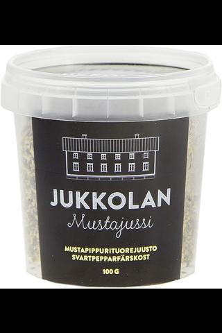 Jukkolan 100g Mustajussi-mustapippurituorejuusto