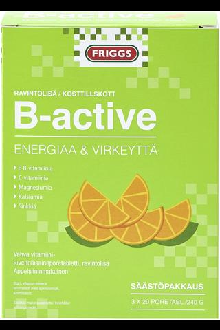 Friggs B-Active vahva B-vitamiini poretabletti, 8 eri vitamiinia, säästöpakkaus 3x20kpl