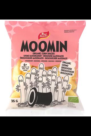 Real Snacks Moomin mansikka luomumaissinaksu 35g