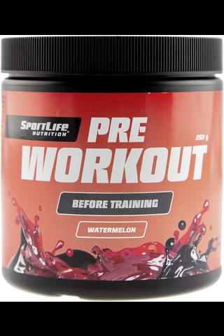 SportLife Nutrition Pre-Workout 250g vesimeloni Tehonlisäysjuomajauhe