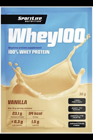SportLife Nutrition Whey100 30g vanilja heraproteiinijauhe