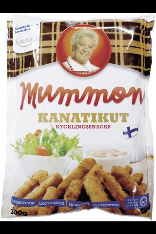 Mummon Kanatikku 300 g, kypsä, paneroitu suomalainen lihavalmiste.