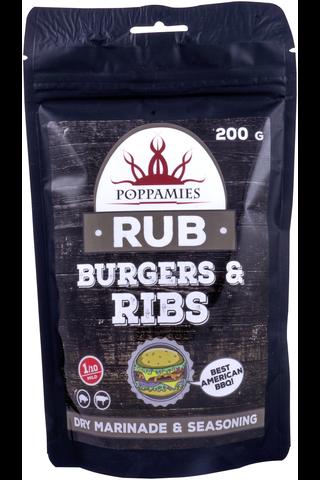 Poppamies Burgers & Ribs Rub amerikkalaistyylinen hampurilaismausteseos 200g