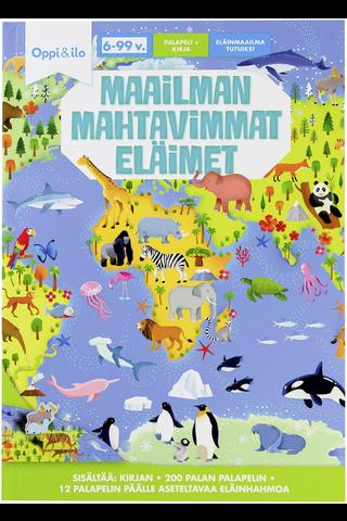 Oppi&ilo Maailman mahtavimmat eläimet palapeli ja kirja 6-99v