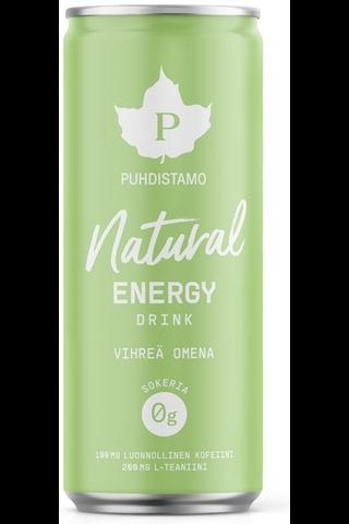 Puhdistamo Natural energy drink - Vihreä omena 330ml