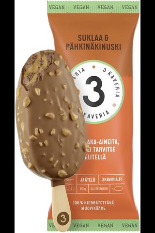3 Kaverin Jäätelö Jäätelöpuikko Suklaa & Pähkinäkinuski 80g