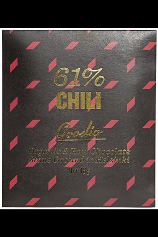 Goodio 48g Chili 61% raakasuklaa luomu