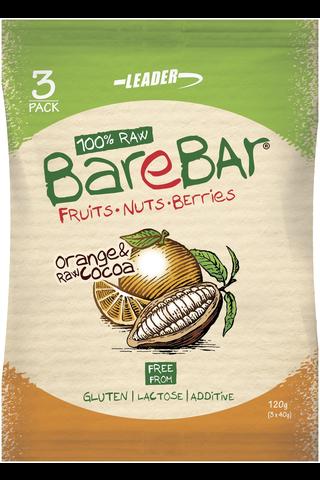 Leader Barebar 3x40g taatelipatukka appelsiini & raakakaakao