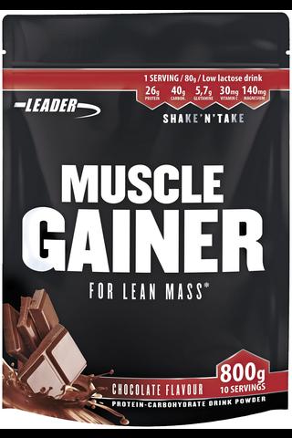 Leader Muscle Gainer proteiini-hiilihydraattijuomajauhe kaakao 800 g