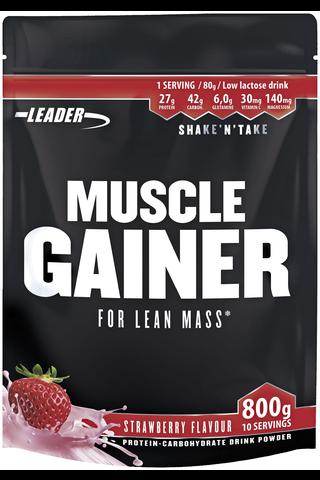 Leader Muscle Gainer proteiini-hiilihydraattijuomajauhe mansikanmakuinen 800 g