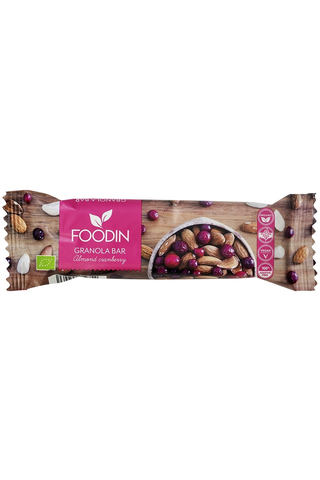 Foodin almond cranberry luomu granola bar 40g